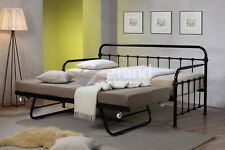 Mandy Hospital Style Metal Day Bed and Trundle with Mattress White Black Cream