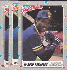 1988 FLEER BASEBALL STICKER LOT (3) HAROLD REYNOLDS #62 MARINERS NMMT/MINT*L1732
