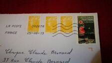 """4 timbres oblitérés sur lettre , dont """" lutte contre l'illettrisme """""""