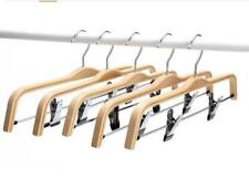 "20P 14"" Wooden Pant Hangers Light Weight Wood Skirt Hanger With Adjustable Clips"