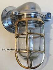Vintage Industrial Wall Light Brass Silver Aluminium Bulkhead Nautical Ship Lamp