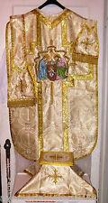 Vintage Style Christmas Nativity Chasuble Set Gold Damask Fabric Embroidered