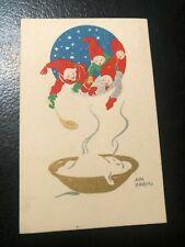 1930S CHRISTMAS GNOMES POSTCARD  ARTIST SIGNED AINA STENBERG