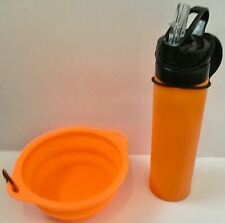 Doggie Collapsible Silicone Folding 600ml Water Bottle & Bowl In Orange 20 Sets