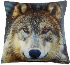 "CHRISTMAS SNOW WOLF LUXURY VELVET BLACK BROWN CUSHION COVER 17"" - 43CM #IWT"