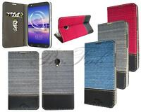 New Stylish Jean Leather Fabric Wallet Phone Case Cover For Alcatel U5 3G 4G HD