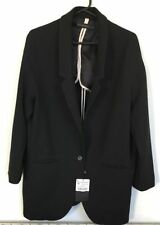 Blazer Button Polyester No Pattern Coats & Jackets for Women