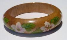 bracelet en bois vernis naturel avec dessin floral peint en couleur vernis *A10