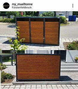 Holz Mülltonnenbox, 3er Mülltonnenverkleidung