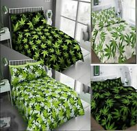 CANNABIS LEAF Printed Reversible Duvet Cover & Pillow Case Bed Set Or Curtains