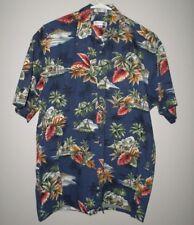PIERRE CARDIN retro blue Hawaiian cruise shirt vtg med Guitar Island button-down