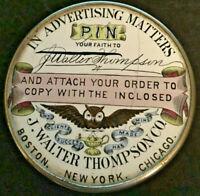 ANTIQUE J WALTER THOMPSON ADVERTISING ENAMEL BOX BOSTON NY CHICAGO OWL WALTHAM