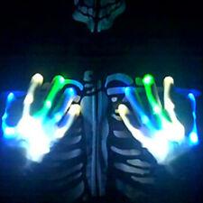 Electro Skeleton BLUE WHITE GREEN LED Light Up HALLOWEEN Dance Gloves Rave Party