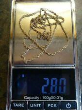 "Vintage 9ct Gold Double Belcher Chain/Necklace 22"" Hallmarked 2.8 grams"