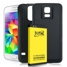 6800mAh Backup Extended Battery+Black Tpu Case For Samsung Galaxy S5 G900A At&T