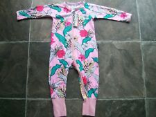 BNWT Baby Girl's Bonds Pink Floral Zip Wondersuit/Coverall/Sleepwear Size 0