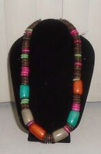 Anthropologie Tagua Beads Discs Chunky Necklace NWOT S/O