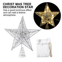 1 Set Glitter Tree Topper Star Creative LED String Lamp without Battery (Silver)