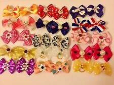 Handmade Dog Cat Pet Grooming Accessories Mixed Pair Hair Bows (20 pairs/40pcs)