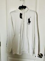NWT Polo Ralph Lauren Mens Lightweight White Big Pony Hoodie T-Shirt  Size L