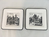 "Cities Roma New York London Made In Italy Set of Two 7 1/2"" Square Salad Plates"