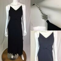 Vintage Lillie Rubin Women's 4 Black Draped Maxi Shift Flare Dress Evening Gown