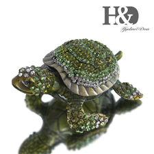 Diamond Green Turtle Hinged Trinket Box Hand Painted Animal Figurine Collectible