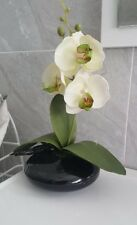 Artificial flowers & plants In Black Pot   Orchid 9X 25 Cmh In White
