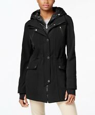 Nautica Quilted Hooded Layered Anorak Raincoat in Black Size XS