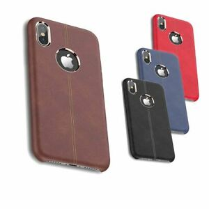 Rugged Thin Case Skin Leather Cover Tempered Glass Screen Protector For Apple