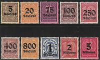Stamp Germany Official Mi 089-98 Sc O29-32,4-9 1923 Dienst Deutsches Reich MH