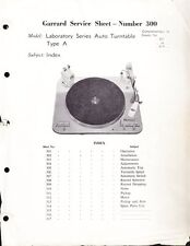 GARRARD SERVICE MANUAL FOR MODEL TYPE A AUTO TURNTABLE