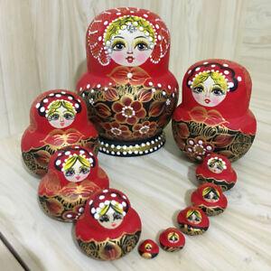 10pcs Red Flower Girls Wooden Russian Nesting Dolls Babushka Matryoshka Toy