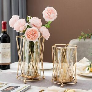 Metal Candle Holder Glass Vase Gold Modern Stick Decorative Dining Table Gift