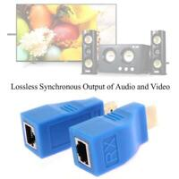 2Pcs HDMI Extender to RJ45 Over Cat 5e/6 Network Ethernet 1080P 4K HD U2Y9