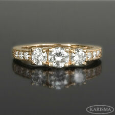 1.15 CT VS1 D NATURAL 3 STONES DIAMOND RING 14 KT ROSE GOLD RED SIZE 6 7 8
