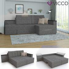 Vicco Ecksofa Schlaffunktion 240 x 160 cm Grau Eckcouch Sofa Couch Schlafsofa