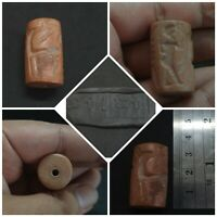 Sassananian Very Rare Red Stone Intaglio King And Deer Amazing Bead #13Q