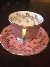 AYNSLEY CUP & SAUCER SET, ENGLAND, BONE CHINA - PINK/GOLD