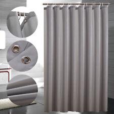 Solid Grey/ White Shower Curtain W/ Ring Hooks Waterprooof Bathroom Long Curtain