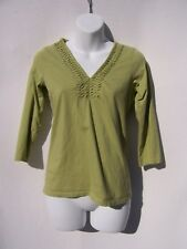 Talbots Petites Women's Green V-Neck ¾ Sleeve Top with Ruching Size P
