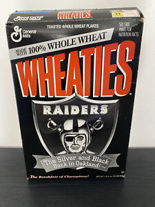 Vintage 1995 NFL Oakland Raiders Wheaties Box The Silver and Black Back *EMPTY*