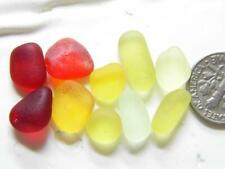 10 XS-M UV Red Orange Amberina Lemon 7g JQ RARE Genuine Seaham English Sea Glass