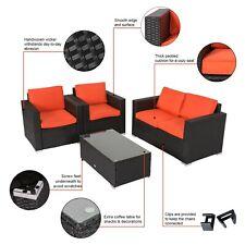 Patio Wicker Furniture Outdoor 4pc Rattan Sofa Set Garden Conversation Set