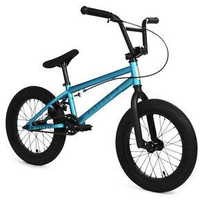 "Elite 16"" BMX Pee Wee Bicycle Freestyle Bike 1 Piece Crank Blue NEW"