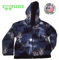 ZooFleece Blue Wolf Animal Kids Boys Jacket Hoodie Coat Wolf Gift Baby Children