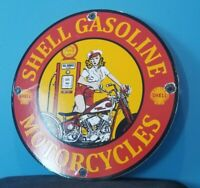 VINTAGE SHELL GASOLINE PORCELAIN HARLEY DAVIDSON MOTORCYCLE SERVICE STATION SIGN