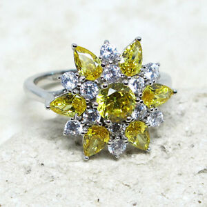 LOVELY CITRINE YELLOW & WHITE FLOWER 925 STERLING SILVER RING SIZE 5-10
