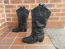 ESSENCE Black Leather Cowboy / Biker Style Boots * s7 uk * PULL ON * WIDE CALF!