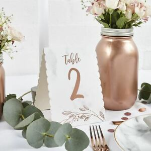 Rose Gold Marbled Wedding Table Numbers   1-12 Centrepiece Decorations Modern